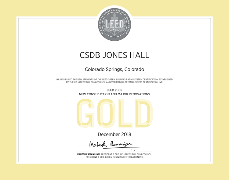 15045.00 Jones Hall LEED Gold Certificate